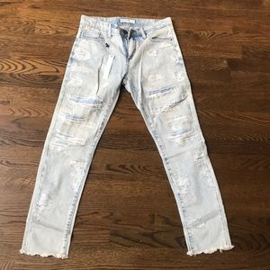 BlankNYC Ripped and Repaired Light Wash Jeans